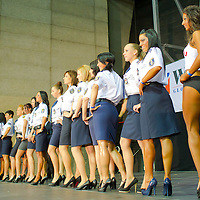 Competitors line up in their uniforms during the Miss Zsaru (Miss Cop) contest in Budapest, Hungary on May 13, 2012. ATTILA VOLGYI