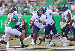 Oct 9, 2021; Huntington, West Virginia, USA; Old Dominion Monarchs quarterback D.J. Mack Jr. (8) runs the ball during the first quarter against the Marshall Thundering Herd at Joan C. Edwards Stadium. Mandatory Credit: Ben Queen-USA TODAY Sports