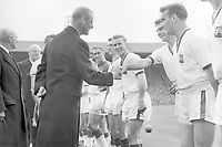 Duncan Edwards is introduced to Prince Phillip,The Duke of Edinburgh before kick off. Bobby Charlton (centre) Eddie Colman (right). FA Cup Final 1957 4/5/57. Wembley Aston Villa v Manchester United  Credit: Colorsport.