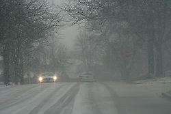 January 29, 2018 - Toronto, ONTARIO, Canada - Drivers navigate slippery roads during a late afternoon snowstorm which left around 8-10 cm of snow in Toronto, Ontario, Canada, on January 29, 2018. (Credit Image: © Creative Touch Imaging Ltd/NurPhoto via ZUMA Press)
