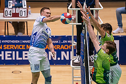 Thomas Douglas Powell of Lycurgus, Markus Held of Orion, David Bes of Orion in action during the league match between Active Living Orion vs. Amysoft Lycurgus on March 20, 2021 in Doetinchem.