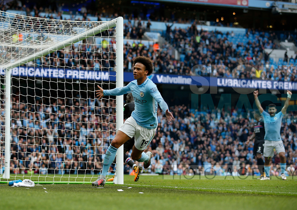 Leroy Sane of Manchester City celebrates his goal the first during the premier league match at the Etihad Stadium, Manchester. Picture date 22nd September 2017. Picture credit should read: Simon Bellis/Sportimage