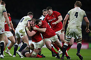 Alun Wyn Jones © of Wales and Ken Owens of Wales are stopped by George Ford of England. England v Wales, NatWest 6 nations 2018 championship match at Twickenham Stadium in Middlesex, England on Saturday 10th February 2018.<br /> pic by Andrew Orchard, Andrew Orchard sports photography