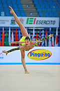 Russo Alessia during qualifying at hoop in the Pesaro World Cup April 10, 2015. Alessia is an Italian individual rhythmic gymnast, she was born on September 24,1996 in Figline Valdarno, Italy.