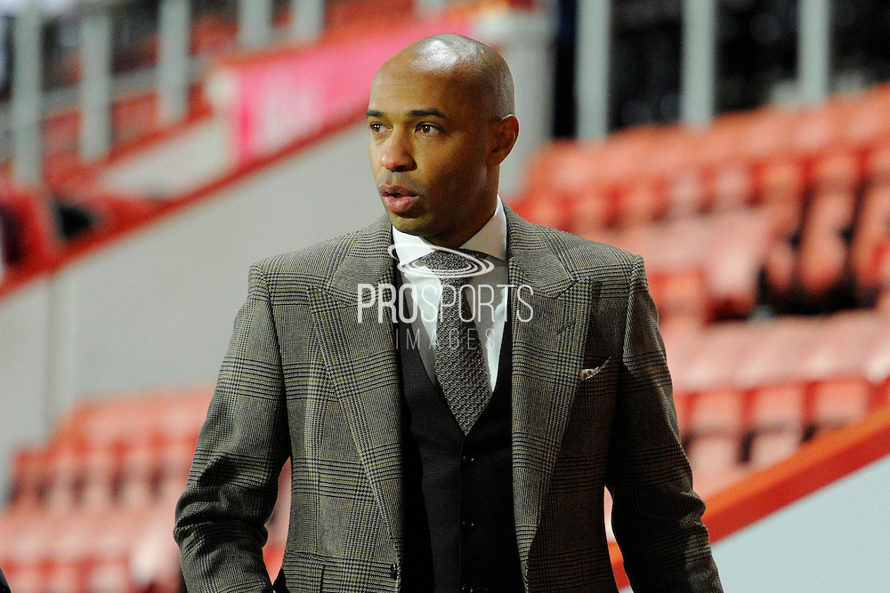 Arsenal legend Thierry Henry walking to the TV the studio before the Premier League match between Bournemouth and Arsenal at the Vitality Stadium, Bournemouth, England on 3 January 2017. Photo by Graham Hunt.