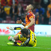 Galatasaray's Burak Yilmaz (B) during their Turkish Super League soccer match Galatasaray between Sivasspor at the TT Arena at Seyrantepe in Istanbul Turkey on Friday, 26 September 2014. Photo by Kurtulus YILMAZ/TURKPIX