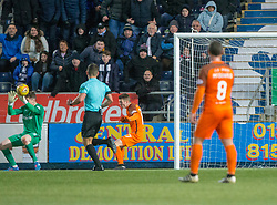 Dundee United's keeper Harry Lewis can't stop =Falkirk's Tommy Robson's fourth goal. Falkirk 6 v 1 Dundee United, Scottish Championship game played 6/1/2018 played at The Falkirk Stadium.