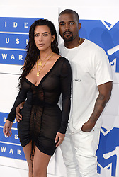Kanye West and Kim Kardashian arriving at the MTV Video Music Awards 2016, Madison Square Garden, New York City. Photo credit should read: Doug Peters/EMPICS Entertainment