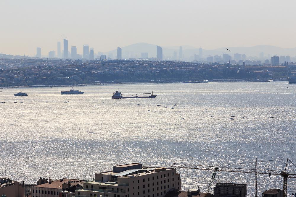 A view from Galata tower towards Üsküdar over  Bosphorus in Istanbul, Turkey.