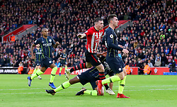 Southampton's Pierre-Emile Hojbjerg (centre) scores his side's first goal of the game during the Premier League match at St Mary's Stadium, Southampton.