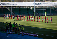 Rugby Union - 2021 Women's Six Name - Third Place Final - Scotland vs Wales - Scotstoun Stadium<br /> <br /> The Wales team stand for the national anthem<br /> <br /> Credit: COLORSPORT/BRUCE WHITE