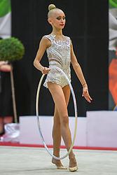 July 28, 2018 - Chieti, Abruzzo, Italy - Junior Rhythmic gymnast Viktoriia Onopriienko of Ukraine performs her hoop routine during the Rhythmic Gymnastics pre World Championship Italy-Ukraine-Germany at Palatricalle on 29th of July 2018 in Chieti Italy. (Credit Image: © Franco Romano/NurPhoto via ZUMA Press)