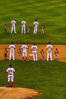 Minor league baseball game between Salem Red Sox (in white) and Frederick Keys, Salem Memorial Baseball Stadium, Salem, Roanoke Valley, Virginia USA.