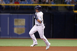 May 22, 2018 - St. Petersburg, FL, U.S. - ST. PETERSBURG, FL - MAY 22: Willy Adames (1) of the Rays rounds the bases after hitting a home run during the MLB regular season game between the Boston Red Sox and the Tampa Bay Rays on May 22, 2018, at Tropicana Field in St. Petersburg, FL. (Photo by Cliff Welch/Icon Sportswire) (Credit Image: © Cliff Welch/Icon SMI via ZUMA Press)