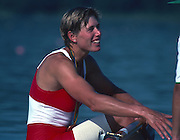 Banyoles, SPAIN, BRONZE Medalist,  CAN W1X SILKEN LAUMANN,  awards dock chats to the baot holder,  Bronze Medal. hanging from her neck 1992 Olympic Regatta, Lake Banyoles, Barcelona, SPAIN.    [Mandatory Credit: Peter Spurrier: Intersport Images]