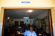 Nurse Cécile Aka Ahoua calls a patient at the NDA health center in Dimbokro, Cote d'Ivoire on Friday June 19, 2009.