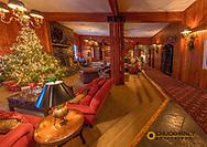 Christmas lights adorn the lobby at Kandahar Lodge in Whitefish, Montana, USA
