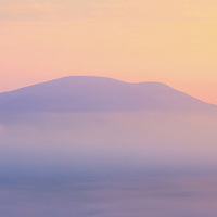 Mystical Sunrise with fog over Cahersiveen with view on Cross of Knock na Tobar, County Kerry, Ireland / ch226