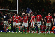 The Welsh players show their dejection at the final whistle. RBS Six nations championship 2010, Wales v France at the Millennium Stadium in Cardiff on Friday 26th Feb 2010. picture by Andrew Orchard