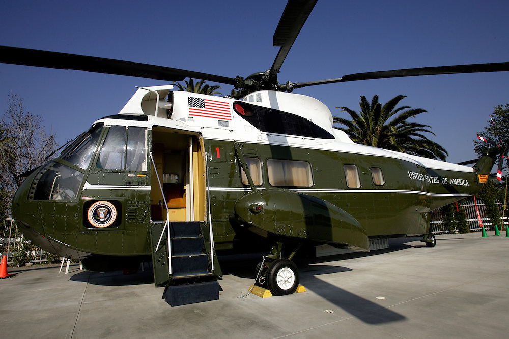 YORBA LINDA, CA, FEBRUARY 21, 2007: The Richard Nixon Library and Birthplace in Yorba Linda, California. This is the presidential helicopter that Nixon flew out of Washington on the day he resigned office. (Photograph by Todd Bigelow/Aurora)