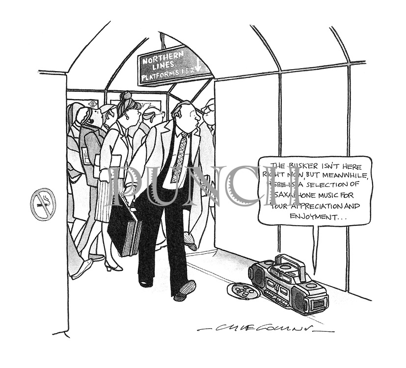 """(A passage in a London Underground station has a portable stereo on the floor announcing """"The busker isn't here right now, but meanwhile, here is a selection of saxaphone music for your appreciation and enjoyment..."""")"""