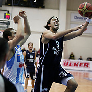 Anadolu Efes's Sasha Vujacıc (C) during their Turkish Basketball league derby match  Fenerbahce Ulker between Anadolu Efes at Caferaga Sports Hall in Istanbul, Turkey, Saturday 01, 2012. Photo by TURKPIX