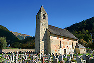 """Exterior of the Church of San Vigilio in Pinzolo and its fresco paintings """"Dance of Death"""" painted by Simone Baschenis of Averaria in1539, Pinzolo, Trentino, Italy .<br /> <br /> Visit our MEDIEVAL ART PHOTO COLLECTIONS for more   photos  to download or buy as prints https://funkystock.photoshelter.com/gallery-collection/Medieval-Middle-Ages-Art-Artefacts-Antiquities-Pictures-Images-of/C0000YpKXiAHnG2k<br /> <br /> If you prefer to buy from our ALAMY PHOTO LIBRARY  Collection visit : https://www.alamy.com/portfolio/paul-williams-funkystock/san-vigilio-pinzolo-dance-of-death.html ."""