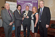 31/01/2014 REPRO free.<br /> From Left  CforC Chief Executive Bob Barbour, Matt Fisher, EFQM,  presenting Mark Long and Natalie Smith from Clontarf Castle and Dr Tony Lenehan, Fáilte Ireland  at Galway Bay Hotel for 2013 EFQM IRELAND EXCELLENCE AWARDS AT EUROPEAN EXCELLENCE .<br /> <br /> Levels of recognition include: Ireland Excellence Award, Excellence 5 Star Award, Excellence 4 Star Award, STEPS to Excellence, and Gold Star Service Excellence. The Awards are not an end in themselves but a means of assessing and recognising role model organisations against the most rigorous international quality standards while encouraging management and staff to continue their excellence journey to the next level.www.cforc.org .<br /> Photo:Andrew Downes