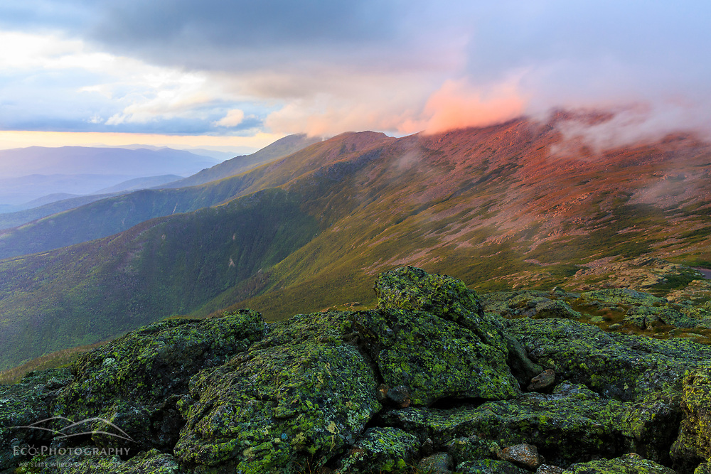 Clouds hug the summits of the Northern Presidentials as seen from Mount Monroe in New Hampshire's White Mountain National Forest. Appalachian Trail.
