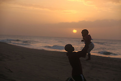 South Africa - Durban -15/06/2020. Sunrise at Umgababa resort beach is a wonderful place to bond as families specially fit daddies excesice and also spend good times with their babies/ childen . picture: Nqobile Mbonambi/ Africannewsagency(ANA)