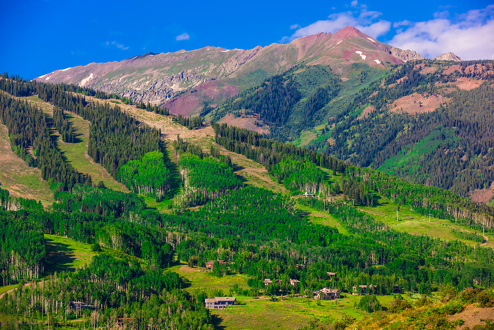 Looking to the ski slopes of Snowmass in summer, Snowmass Village (Aspen), Colorado USA.