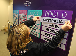 KYOTO, JAPAN - MAY 10: A representitive of World Rugby adds drawn teams to the pools during the Rugby World Cup 2019 Pool Draw at the Kyoto State Guest House on May 10, in Kyoto, Japan. Photo by Dave Rogers - World Rugby/PARSPIX/ABACAPRESS.COM