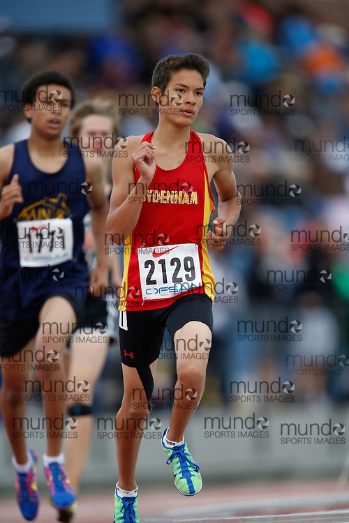 Nick Adams of Sydenham HS - Sydenham competes in the 800 metre heats at the 2013 OFSAA Track and Field Championship in Oshawa Ontario, Saturday,  June 8, 2013.<br /> Mundo Sport Images/ Geoff Robins