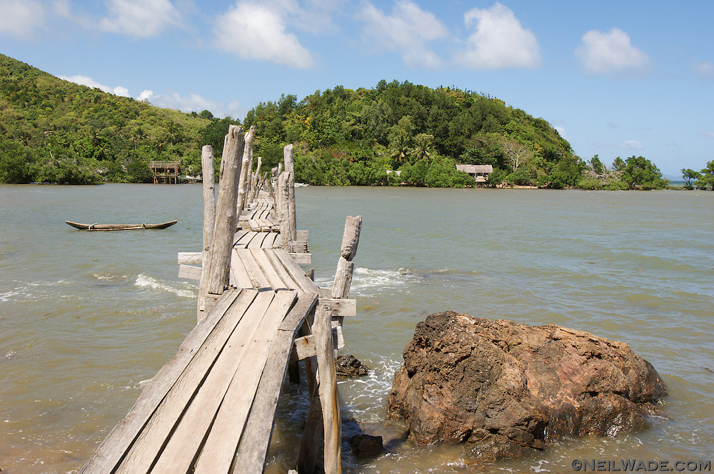 A rickety hand made bridge on Palawan island in Taytay, Philippines.