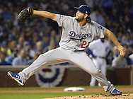 CHICAGO, IL - OCTOBER 16:  Clayton Kershaw #22 of the Los Angeles Dodgers pitches during Game 2 of NLCS against the Chicago Cubs at Wrigley Field on Sunday, October 16, 2016 in Chicago, Illinois. (Photo by Ron Vesely/MLB Photos via Getty Images) *** Local Caption *** Clayton Kershaw