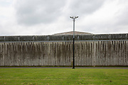 The highly secure and watched perimeter fence of HMP Belmarsh, London. United Kingdom. HMP Belmarsh is a high security Category A male prison run by Her Majesty's Prison Service in Thamesmead, South East London, UK. It opened in 1991 and has a direct tunnel link into Woolwich Crown court. (Photo by Andy Aitchison)