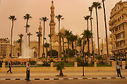 Alexandria, Egypt during a sandstorm. The yellow-orange light is from the sand in the sky filtering the sunlight.