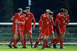 BANGOR, WALES - Tuesday, November 20, 2018: Wales players celebrate the second goal with goal-scorer Sam Bowen (2nd from L) during the UEFA Under-19 Championship 2019 Qualifying Group 4 match between Wales and San Marino at the Nantporth Stadium. (Pic by Paul Greenwood/Propaganda)