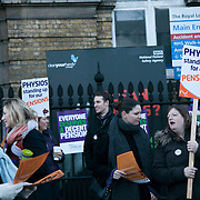Official picket line outside the London Royal Hospital in White Chapel in London.. It is the beginning of the day of a demonstartion against pension cuts and general cuts in the public sector.