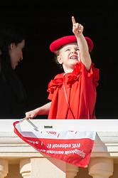 Princess Gabriella of Monaco is attending on the balcony during the National Day ceremonies, Monaco Ville (Principality of Monaco), on November 19th, 2019. Photo by Marco Piovanotto/ABACAPRESS.COM