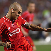 Martin Skrtel, Liverpool, in action during the Liverpool Vs AS Roma friendly pre season football match at Fenway Park, Boston. USA. 23rd July 2014. Photo Tim Clayton