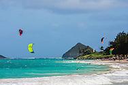 Kitesurfers in Kailua Bay, Oahu, Hawaii