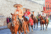 Mexican Cowboys ride their horses in a parade to celebrate the 251st birthday of the Mexican Independence hero Ignacio Allende January 21, 2020 in San Miguel de Allende, Guanajuato, Mexico. Allende, from a wealthy family in San Miguel played a major role in the independency war against Spain in 1810 and later honored by his home city by adding his name.