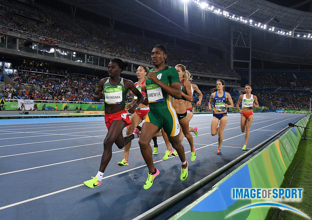 Aug 20, 2016; Rio de Janeiro, Brazil; Caster Semenya (RSA) and Francine Niyonsaba (BDI) place first and second in the women's 800m in 1:55.28 and 1:56.49 during the 2016 Rio Olympics at Estadio Olimpico Joao Havelange. <br /> <br /> *