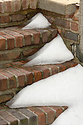 partly melted snow on outdoor stairs
