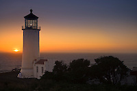 North Point Lighthouse at sunset, Ilwaco, Washington, USA (built 1898 and still active)
