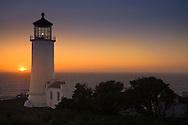 North Point Lighthouse at sunset, Ilwaco, Washington, USA (built 1898 and still active)