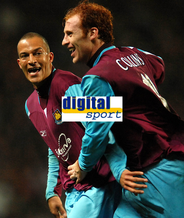Photo: Paul Greenwood.<br />Blackburn Rovers v West Ham United. The Barclays Premiership. 17/03/2007.<br />Bobby Zamora (L) and James Collins celebrate the second controversal goal