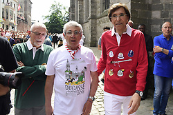 May 27, 2018 - Mons, BELGIUM - French actor Michel Boujenah and Mons Mayor Elio Di Rupo pictured during the Ducasse - Doudou folkloric festival in Mons, Sunday 27 May 2018. The Doudou feast compromises two parts, a procession with the shrine of Waltrude and the fight between Saint George and the dragon. The Doudou was recognized in 2005 by UNESCO as one of the masterpieces of the Oral and Intangible Heritage of Humanity. ..BELGA PHOTO LAURIE DIEFFEMBACQ (Credit Image: © Laurie Dieffembacq/Belga via ZUMA Press)