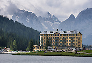 Grand Hotel Lake Misurina (1754 meters/5755 feet elevation, postal code: 32041 Auronzo di Cadore) is in Tre Cime/Drei Zinnen Nature Reserve, in the Province of Belluno, Veneto region, Italy, Europe. Lago di Misurina is only 14 km from Cortina d'Ampezzo. The Dolomites are part of the Southern Limestone Alps, in northern Italy, Europe. UNESCO honored the Dolomites as a natural World Heritage Site in 2009.